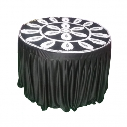 4 FT X 4 FT - Round Table Cover - Made of Premium Quality Brite Lycra - Top Velvet Fabric Cloth - Brown & Creme Color