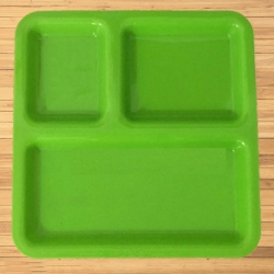 Pav Bhaji Plates - 3 Compartments Divided Plastic Plates - Made of Pure Virgin Plastic - Green Color