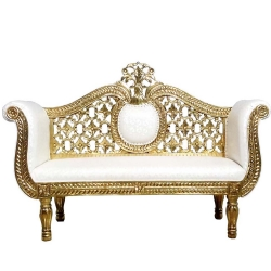 White Color - Udaipur - Rajasthani -  Jaipuri -  Heavy - Premium - Couches - Sofa - Wedding Sofa - Maharaja Sofa - Wedding Couches - Made of Wooden & Metal
