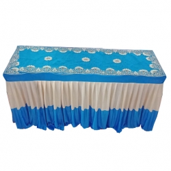 18 Inch X 72 Inch - Designer Table Cover - Table Top for Rectangular Table - Made Of Brite Lycra Featuring Fine Work Of Embroidery on Top - Sky Blue & White Color