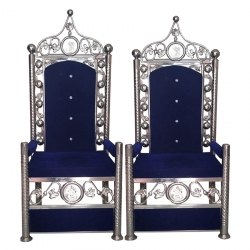 Varmala Sofa Chair - Wedding Sofa Chair - Traditional Design - Made Of Stainless Steel - Pair Of 1 (2 Pieces) - Blue Color.