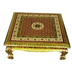 18 Inch X 18 Inch - Golden Color - Puja Chowki - Pata -Chowki - Chaurang - Bajoth - Made of Wooden & Brass Metal .
