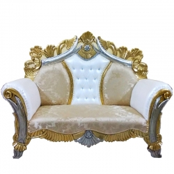 White & Golden Color - Udaipur - Rajasthani - Heavy - Couches - Sofa - Wedding Sofa - Wedding Couches - Made Of Wooden & Metal
