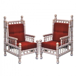 Sankheda Chair or Wooden Chair - Pair of 1 (2 Chairs) - Red Color