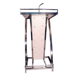 4 FT - Podium - Presentation Dias Made Of Stainless Steel - White Color.