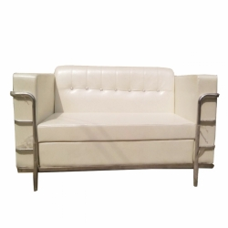 White Color - VIP Sofa - Rexine Sofa - Made of Stainless Steel.