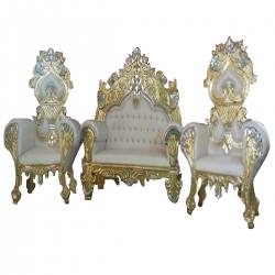 White Color - Heavy -Udaipur - Rajesthani - Jaipuri - Sofa Set -Wedding Sofa Set -Couches -Made Of Wooden & Brass Metal - 1 Sofa & 1 Pair of Chair ( 2 Chair )