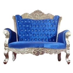 Royal Blue Color - Udaipur - Rajasthani - Jaipuri - Heavy - Premium - Couches - Sofa - Wedding Sofa - Maharaja Sofa - Wedding Couches - Made of Wooden & Metal