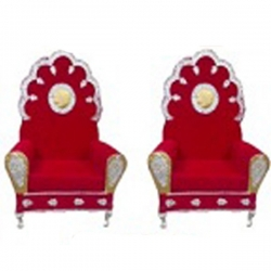 Red Color - Wedding Chair - Varmala Chari Set - Mandap Chair - Made Of Wooden & Metal - 1 Pair ( 2 Chair )