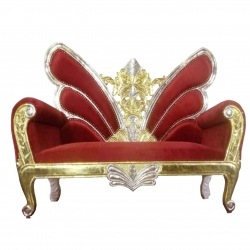 Udaipur Design Wedding Sofa - Made of wood and metal - Red Color