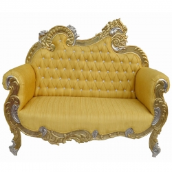 Golden Color - Udaipur - Rajasthani -  Jaipuri - Heavy - Premium - Couches - Sofa - Wedding Sofa - Maharaja Sofa - Wedding Couches - Made of Wooden & Metal