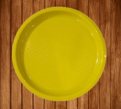 Serving Platter - 16 Inches Large Tray - Made Of Premium Plastic - Yellow Color