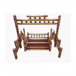 Sankheda Palna - Wooden Palna - Wooden Cradle - Brown & Red Color