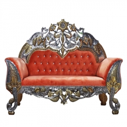 Udaipur Wedding Reception Sofa - Badami Rajwada Style - Made of Wood & Metal - Orange Color.
