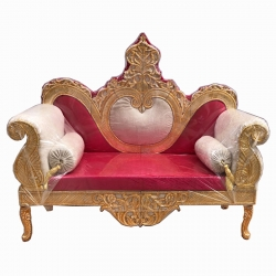 Wooden Sofa - Maharaja Style Sofa - Wedding Sofa - Made Of Wood And Metal - White & Red color