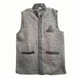 Waiter / Bearer / Bartender Coat or Vest / Kitchen Uniform or apparel for Men; Full-Neckline; Sleeve-less, Made of Premium Quality Polyester & Cotton; Grey & Black Color