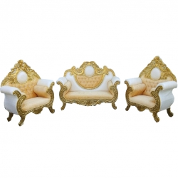 White & Yellow Color - Heavy -Udaipur - Rajesthani - Jaipuri - Sofa Set -Wedding Sofa Set -Couches -Made Of Wooden & Brass Metal- 1 Sofa & 1 Pair of Chair ( 2 Chair )