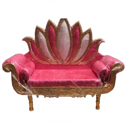 Pink Color - Regular Couches - Sofa - Wedding Sofa - Maharaja Sofa - Wedding Couches - Made of Wooden & Metal
