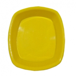 5 Inch - Chat Plates - Dahi Bhalla Plate - Made of Regular Plastic - Yellow Color