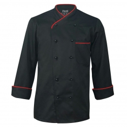 Kitchen Uniform - Chef Coat - Chef Vest - Unisex Chef Uniform - Kitchen apparel - Double Breasted - Mandarin Style Collar - Full Sleeves - Made of Premium Quality Black Color (Available size 38 , 40 , 42 , 44 , 46 , 48)
