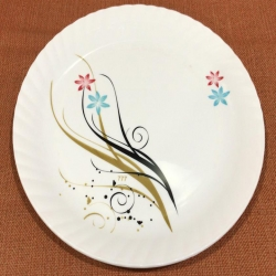 12 Inches Premium Plastic Dinner Plates with Printed design - White Color