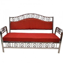 3 Seater - VIP Sofa - Made of Stainless Steel - Red Color.