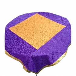 4 FT X 4 FT - Round Table Cover - Made of Premium Quality Brite Lycra - Top Velvet Fabric Cloth - Purpule & Yellow Color