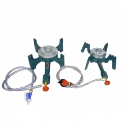 SET Of 2 Gas Stove - Gas Bhatt - Canteen Big & Medium Burner with regulator and pipe - Iron Body