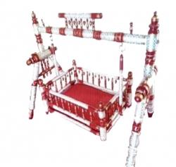Sankheda Palna - Wooden Palna  - Cradle - Made of Natural Saag Wood - Red & White Color