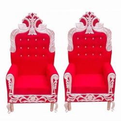 Wedding Reception Sofa - Varmala Sofa Made of Wood & Metal - Red Color.