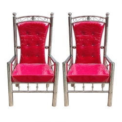 Pink Color - Wedding Chair - Varmala Chair - Chair Set - Mandap Chair - Steel Chair - Made Of Stainless Steel