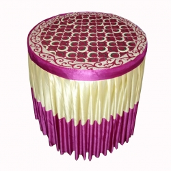 4 FT X 4 FT - Round Table Cover - Made of Premium Quality Brite Lycra - Top Velvet Fabric Cloth - Pink & Golden Color