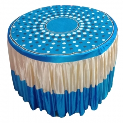 4 FT X 4 FT - Round Table Cover - Made of Premium Quality Brite Lycra - Top Velvet Fabric Cloth - Sky Blue & White Color