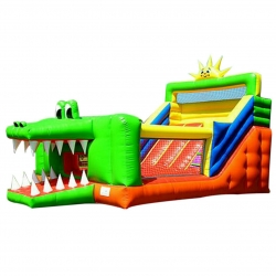 Commercial Bouncy - Inflatable Slide with Blower - Alligator design Jump n Bounce - 16 x 12 x 20 feet - Made of 100% PVC