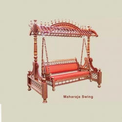 Sankheda Jhula - Wooden Swing - Made of Natural Saag Wood (Teak Wood) - Brown & Red Color