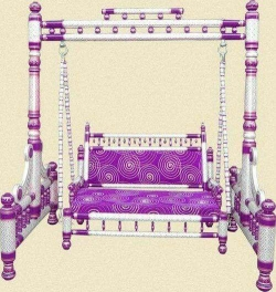 Sankheda Jhula - Wooden Swing - Maharaja Style Jhula - Made of Natural Saag Wood (Teak Wood) - Silver & Purple Color