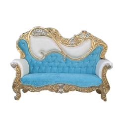 Sky Blue & White Color - Rajasthani - Heavy - Couches - Sofa - Wedding Sofa - Wedding Couches - Made Of Wooden & Metal