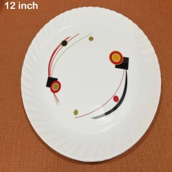 12 Inches Premium Dinner Plates - Made Of Food Grade Virgin Plastic - White Color