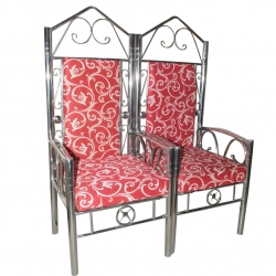 Wedding Chair - Varmala Sofa Made Of Wood & Metal - Pair Of 1 (2 Pieces) Red Color.
