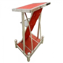 3.5 FT - Podium - Lecterns - Presentation Desk - Speech Stand - Presentation Stand - Made of Stainless Steel - Red Color
