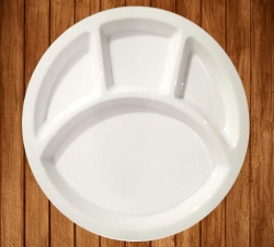 13 Inch - Food-Grade Virgin Plastic (Microwave-Safe) 3-Compartments Divided-Dinner Pavbhajiplate - White Color