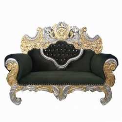 Dark Green Color - Udaipur - Rajasthani - Heavy - Couches - Sofa - Wedding Sofa - Wedding Couches - Made Of Wooden & Metal