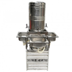 Three -Taps Hand Wash Basin - Sink - Made Of Stainless Steel.
