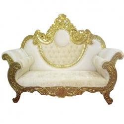 Off White Color - Udaipur - Rajasthani -  Jaipuri -  Heavy - Premium -  Couches - Sofa - Wedding Sofa - Maharaja Sofa - Wedding Couches - Made of Wooden & Metal