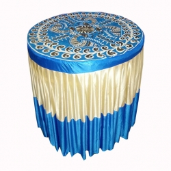4 FT X 4 FT - Round Table Cover - Made of Premium Quality Brite Lycra - Top Velvet Fabric Cloth - Sky Blue & Golden Color