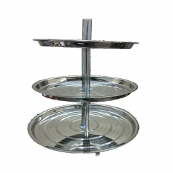 12 Inch - Stainless Steel Salad stand - 3-Tier Serving Stand - Silver Color