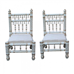 Sankheda Chair or Wooden Chair - Pair of 1 (2 Chairs) White Color