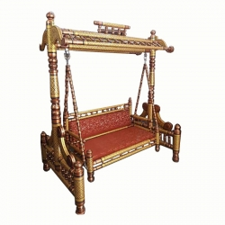 Sankheda Jhula - Wooden Swing - Maharaja Style Jhula - Made of Natural Saag Wood (Teak Wood) Brown Color