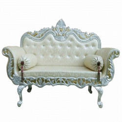 Wedding Reception Sofa - Maharaja Sofa - Made of Wood & Metal - Cream Color.