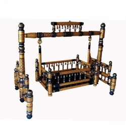 Wooden Cradle - Baby Cradle - Sankheda Palna - Made of natural saag wood - Brown & Blue Color